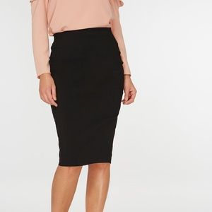 Black fitted pencil skirt, knee length